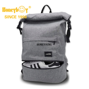 Travel Laptop Backpack Anti-Theft Laptop Bag Roll Top School Bag Water Resistant Lightweight Daypack for Men Women Fit Up to 15.6 Inch Laptop - Grey