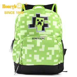 Minecraft Creeper Inside Backpack Kids Green School Bag For Boys Rucksack 18""
