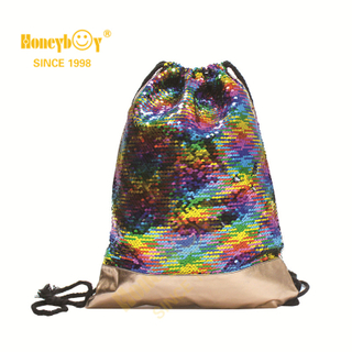 Sequin Glitter Paillette Kids Swimming Drawstring Backpack HY-K006