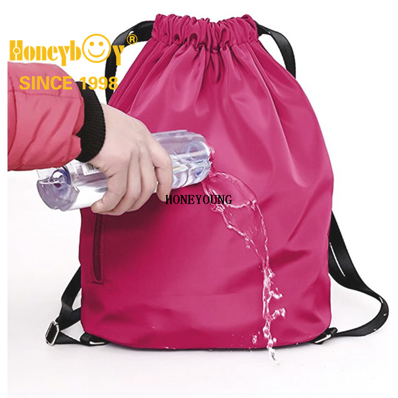 School Sports Bags Drawstring Backpack Waterproof Gym Sack Daily Rucksack Book Bags with Large Capacity Travel Swimming Bags Kids Girls Boys Students