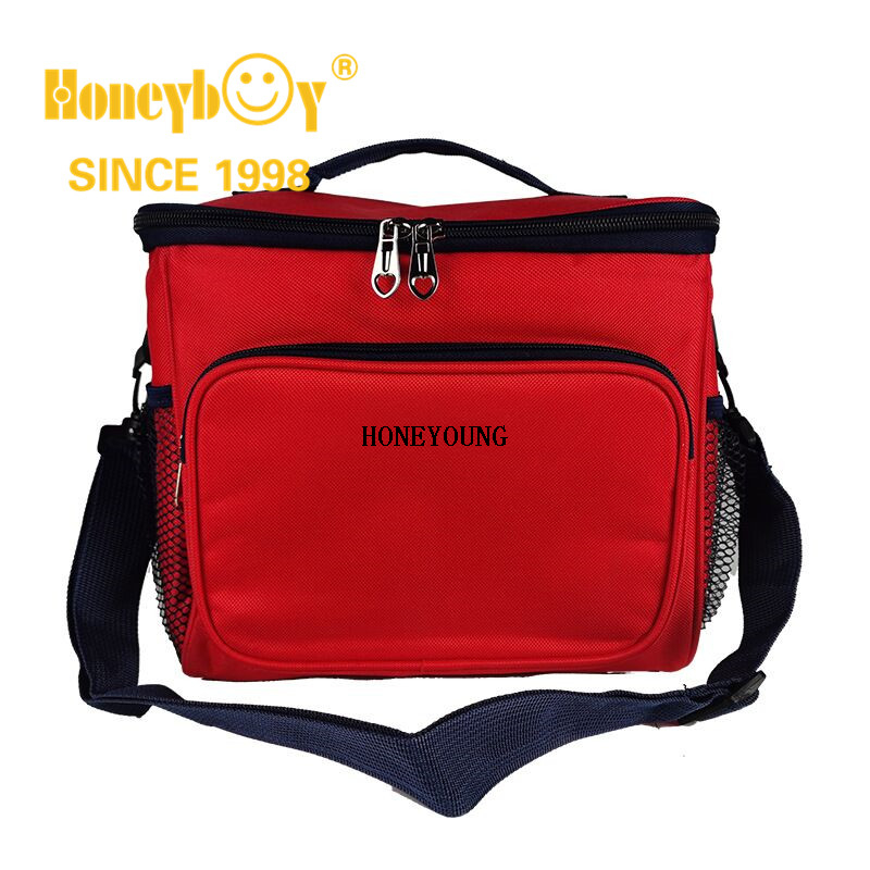 Large Portable Food Shoulder Cooler Bag with Side Pockets
